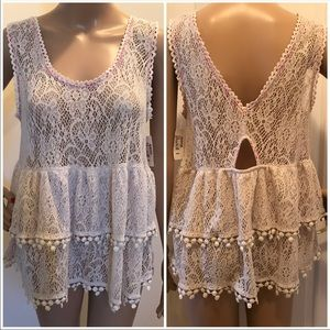Free People NWT Peplum tank lace M